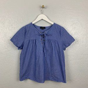 Lucky Brand M Blue Denim Lace Up Shirt